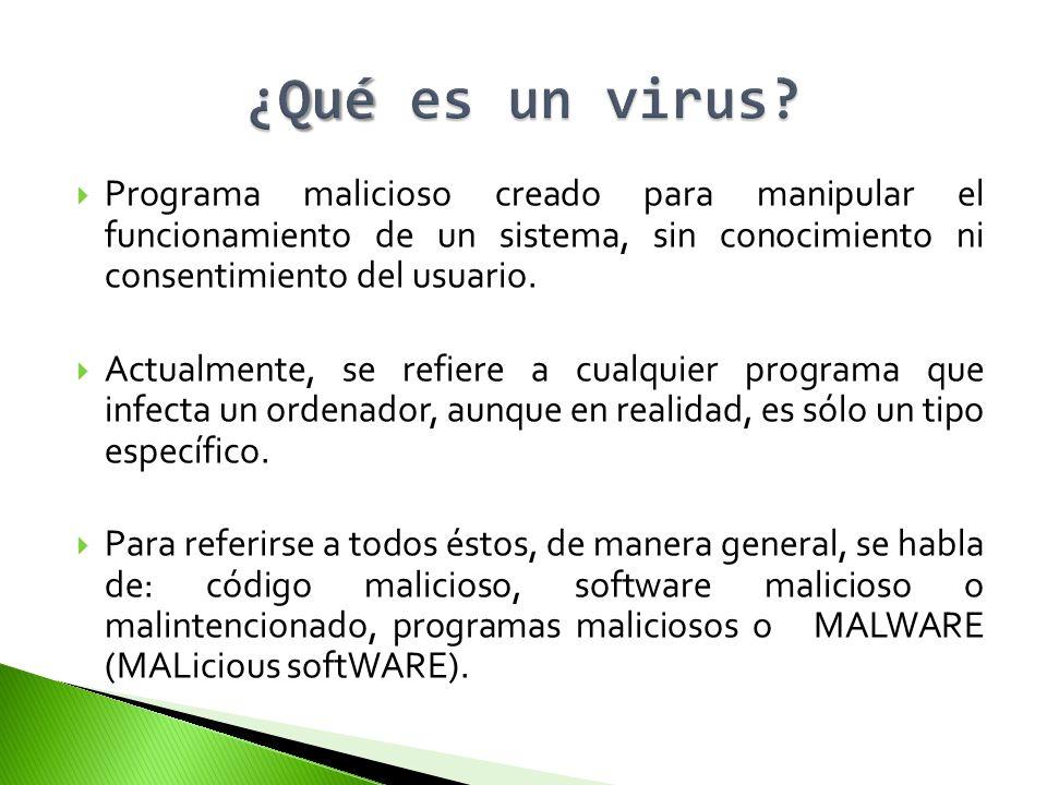 ¿Qué es un virus Programa malicioso creado para manipular el funcionamiento de un sistema, sin conocimiento ni consentimiento del usuario.