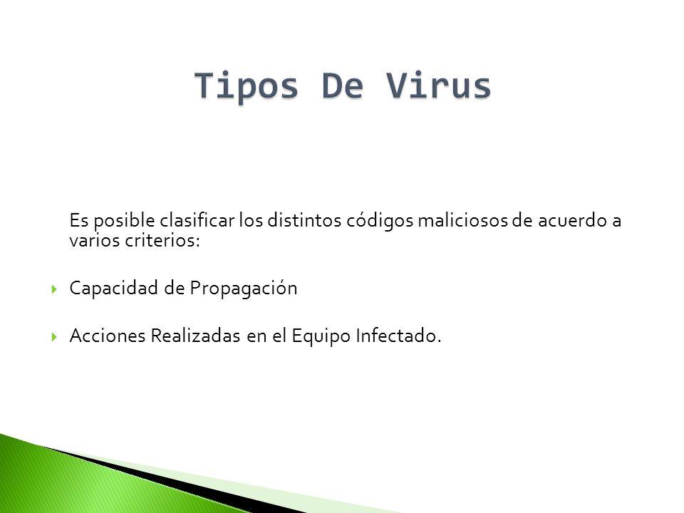 Tipos De VirusEs posible clasificar los distintos códigos maliciosos de acuerdo a varios criterios:
