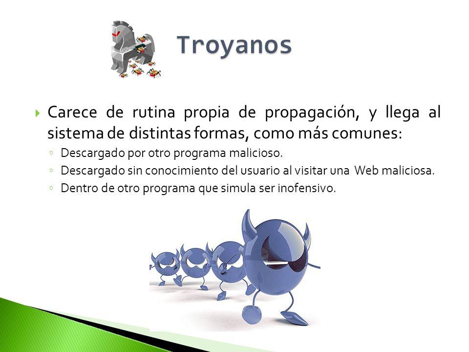 Troyanos Carece de rutina propia de propagación, y llega al sistema de distintas formas, como más comunes: