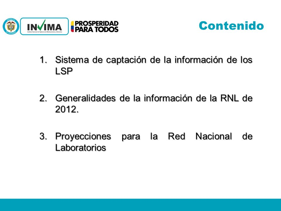 Contenido Sistema de captación de la información de los LSP