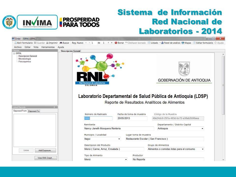 Sistema de Información Red Nacional de Laboratorios - 2014