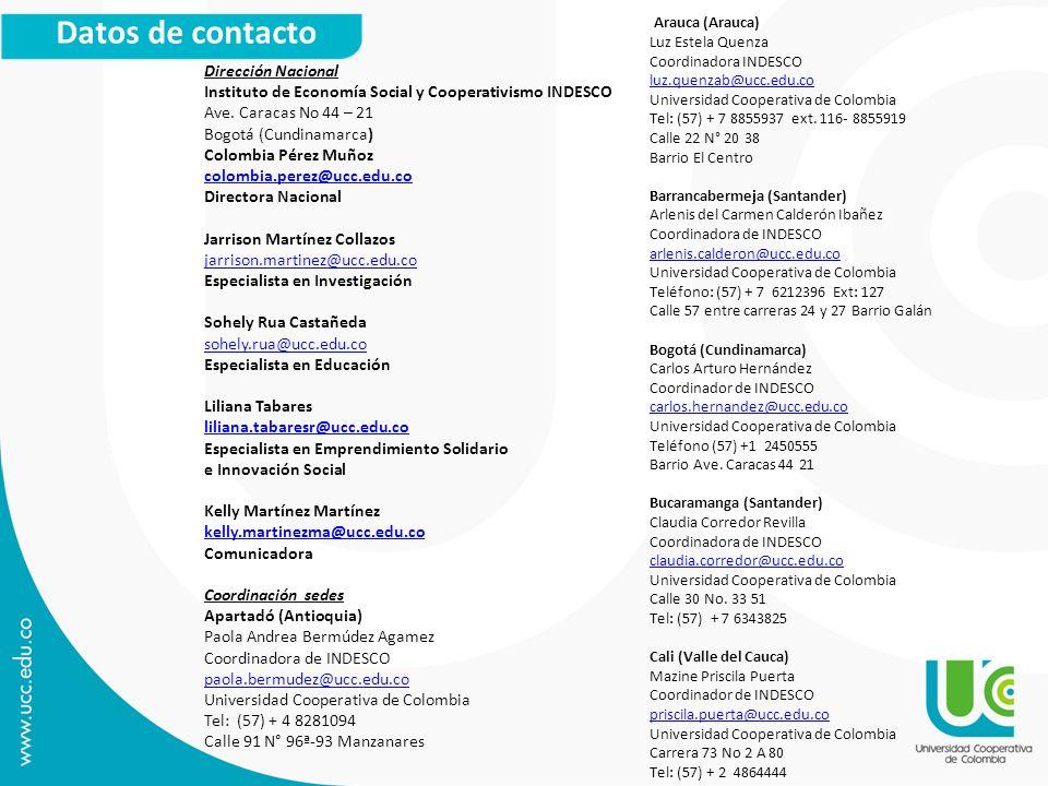Datos de contacto Arauca (Arauca) Dirección Nacional