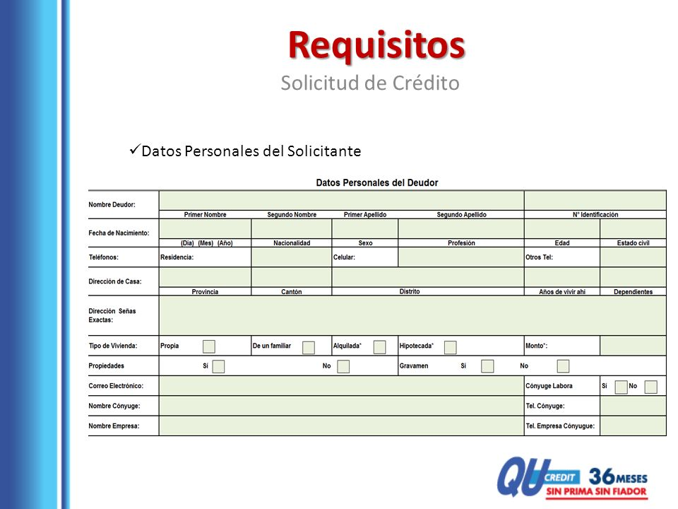 Requisitos Solicitud de Crédito Datos Personales del Solicitante