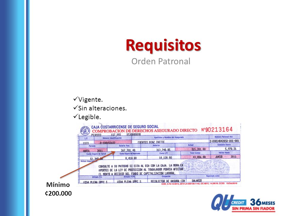 Requisitos Orden Patronal Vigente. Sin alteraciones. Legible. Mínimo