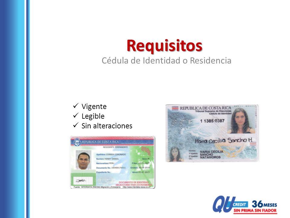 Cédula de Identidad o Residencia