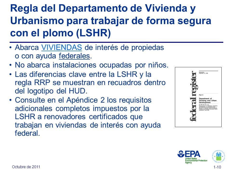 Regla del Departamento de Vivienda y Urbanismo para trabajar de forma segura con el plomo (LSHR)
