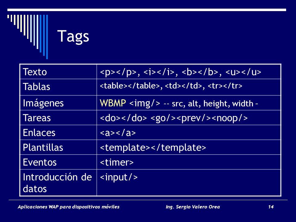 Tags Texto. <p></p>, <i></i>, <b></b>, <u></u> Tablas. <table></table>, <td></td>, <tr></tr> Imágenes.