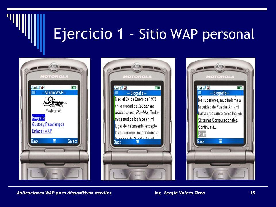Ejercicio 1 – Sitio WAP personal