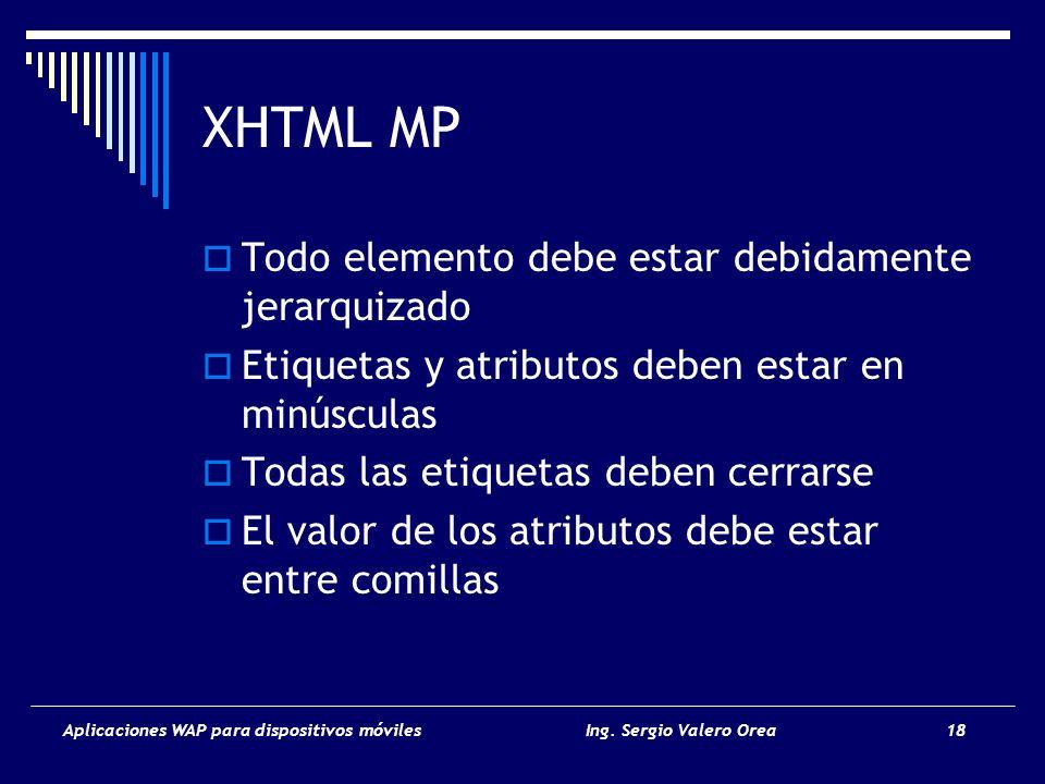 XHTML MP Todo elemento debe estar debidamente jerarquizado