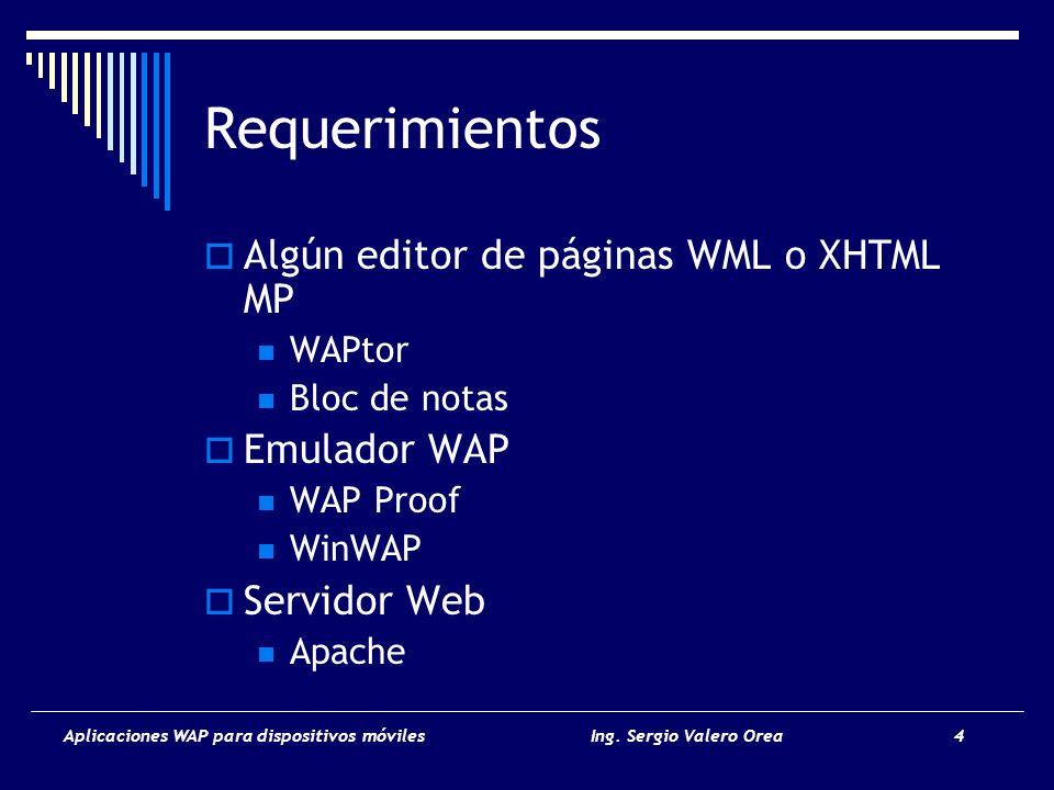 Requerimientos Algún editor de páginas WML o XHTML MP Emulador WAP