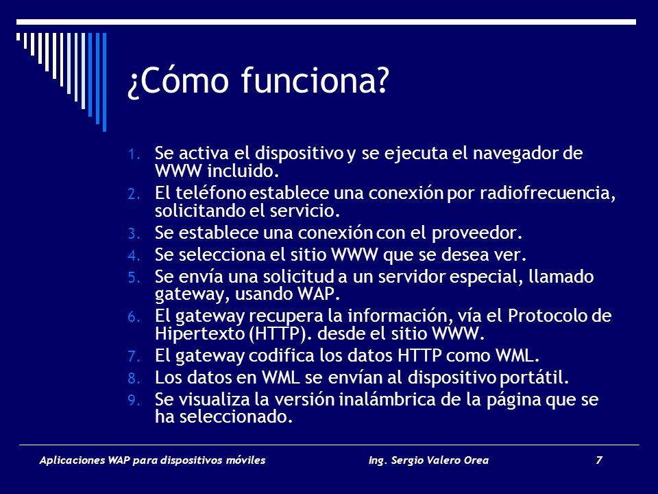 ¿Cómo funciona Se activa el dispositivo y se ejecuta el navegador de WWW incluido.