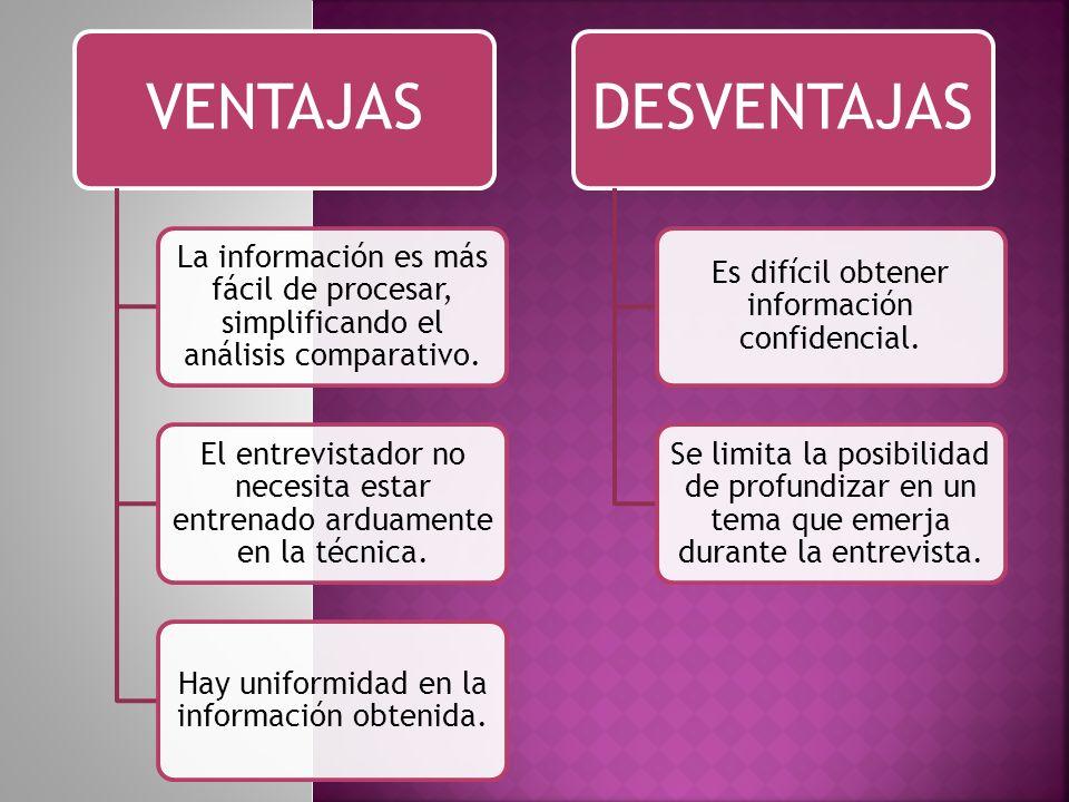 VENTAJAS La información es más fácil de procesar, simplificando el análisis comparativo.