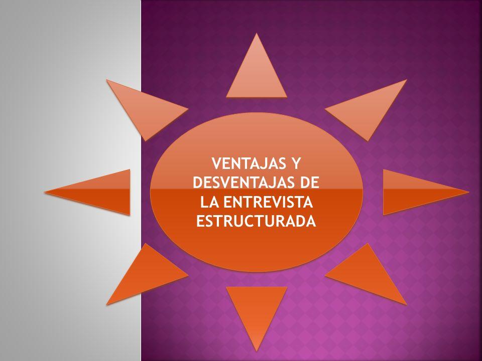 VENTAJAS Y DESVENTAJAS DE LA ENTREVISTA ESTRUCTURADA