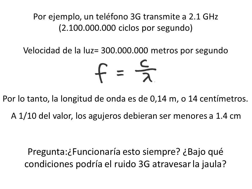 Por ejemplo, un teléfono 3G transmite a 2. 1 GHz (2. 100. 000