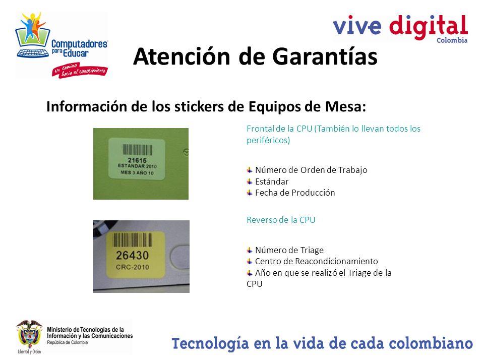 Atención de Garantías Información de los stickers de Equipos de Mesa: