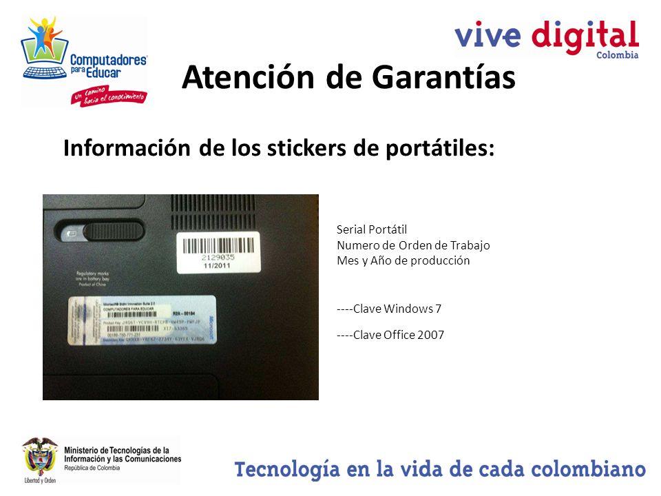 Atención de Garantías Información de los stickers de portátiles: