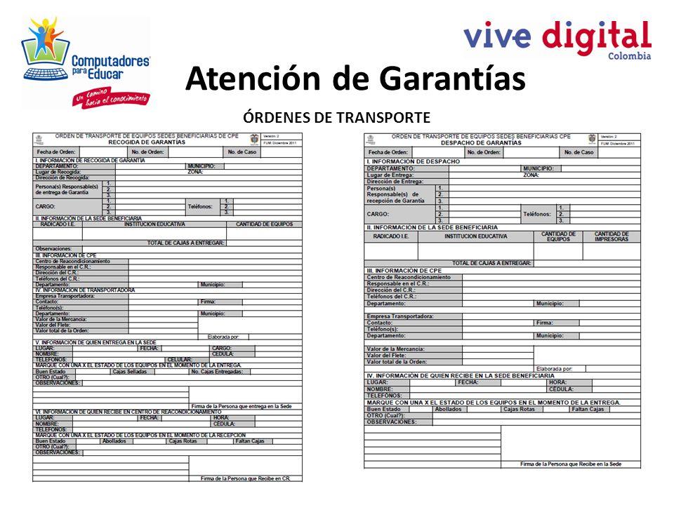 Atención de Garantías ÓRDENES DE TRANSPORTE