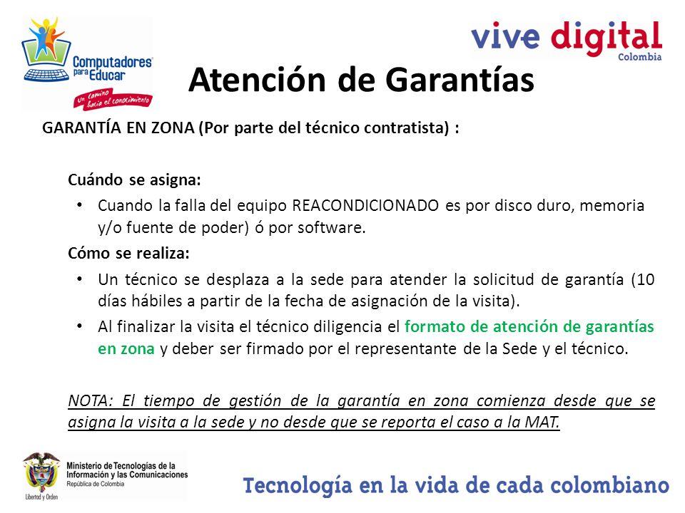 Atención de Garantías GARANTÍA EN ZONA (Por parte del técnico contratista) : Cuándo se asigna: