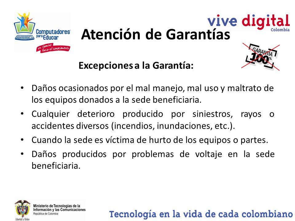 Atención de Garantías Excepciones a la Garantía: