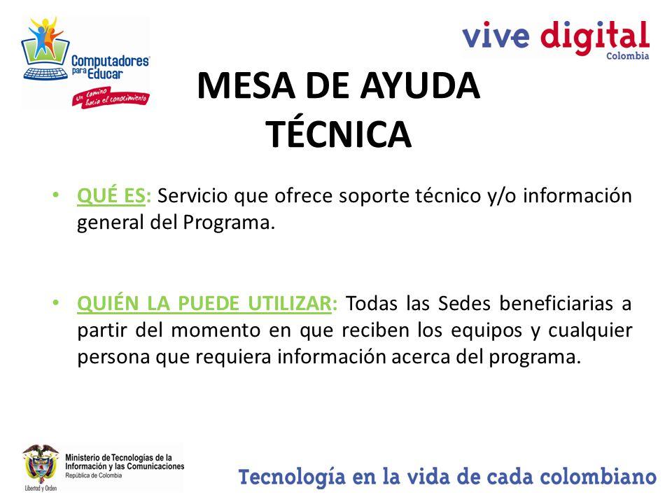 MESA DE AYUDA TÉCNICA QUÉ ES: Servicio que ofrece soporte técnico y/o información general del Programa.