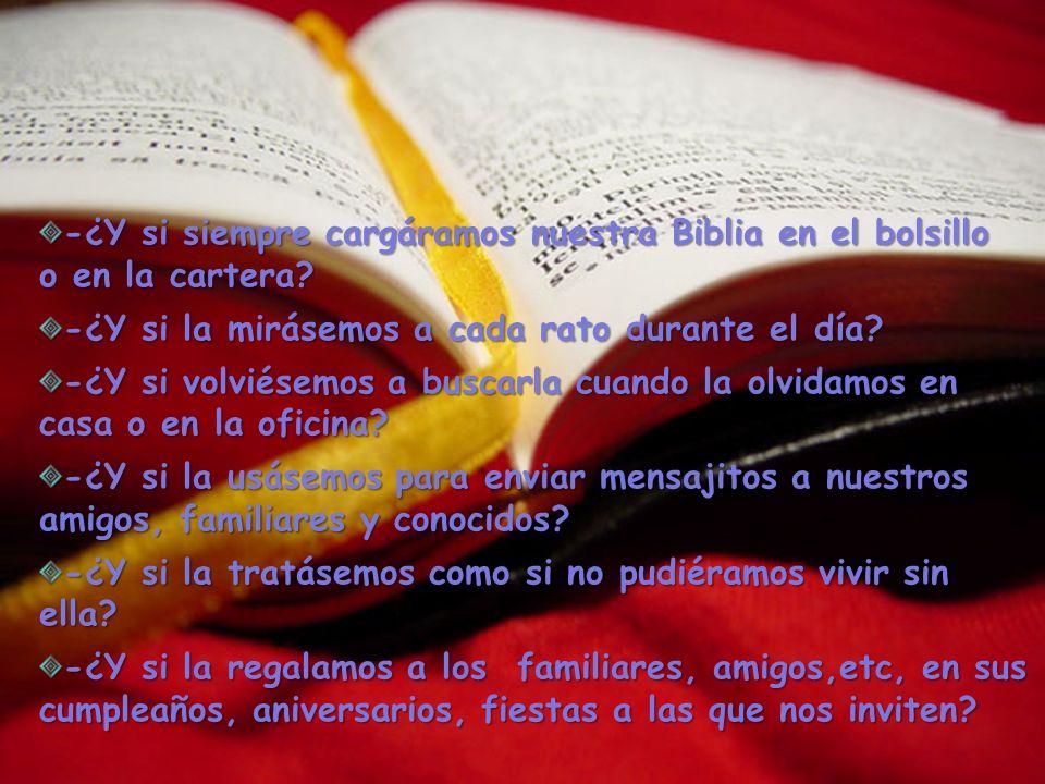 -¿Y si siempre cargáramos nuestra Biblia en el bolsillo o en la cartera