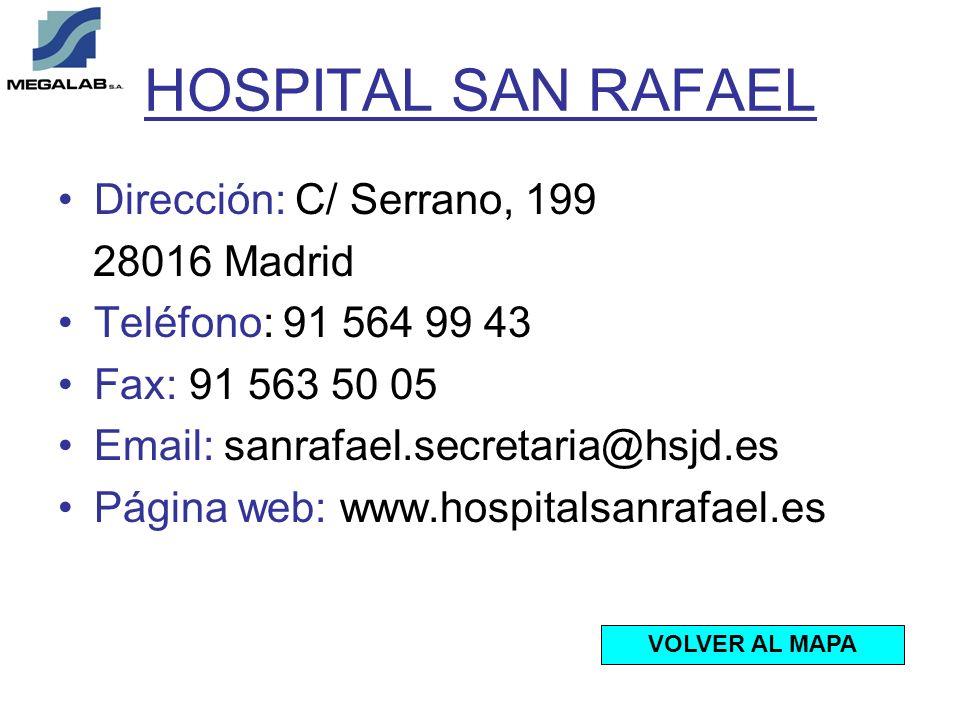 HOSPITAL SAN RAFAEL Dirección: C/ Serrano, 199 28016 Madrid