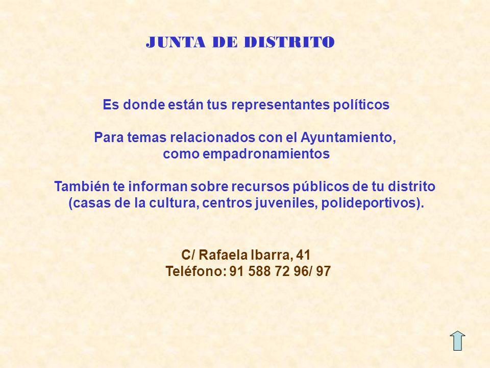 JUNTA DE DISTRITO Es donde están tus representantes políticos