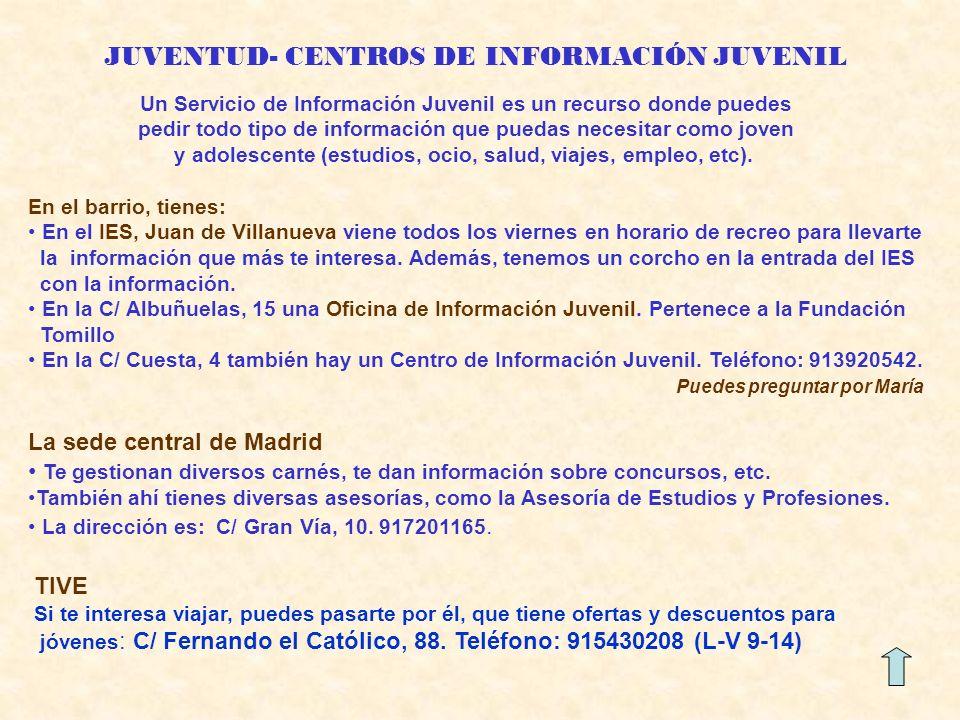 JUVENTUD- CENTROS DE INFORMACIÓN JUVENIL