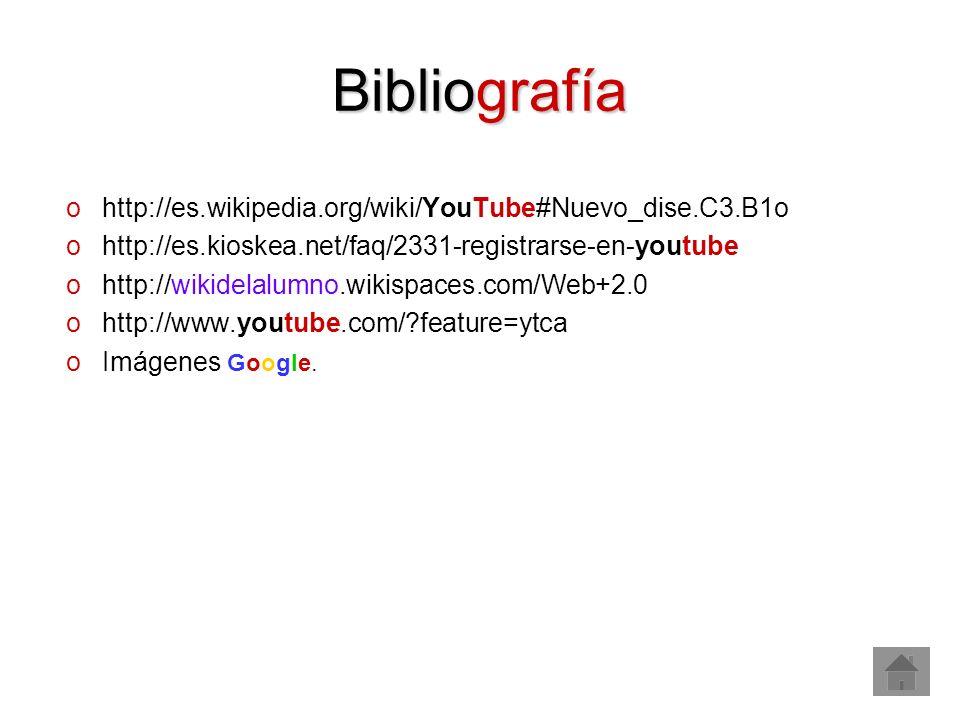Bibliografía http://es.wikipedia.org/wiki/YouTube#Nuevo_dise.C3.B1o