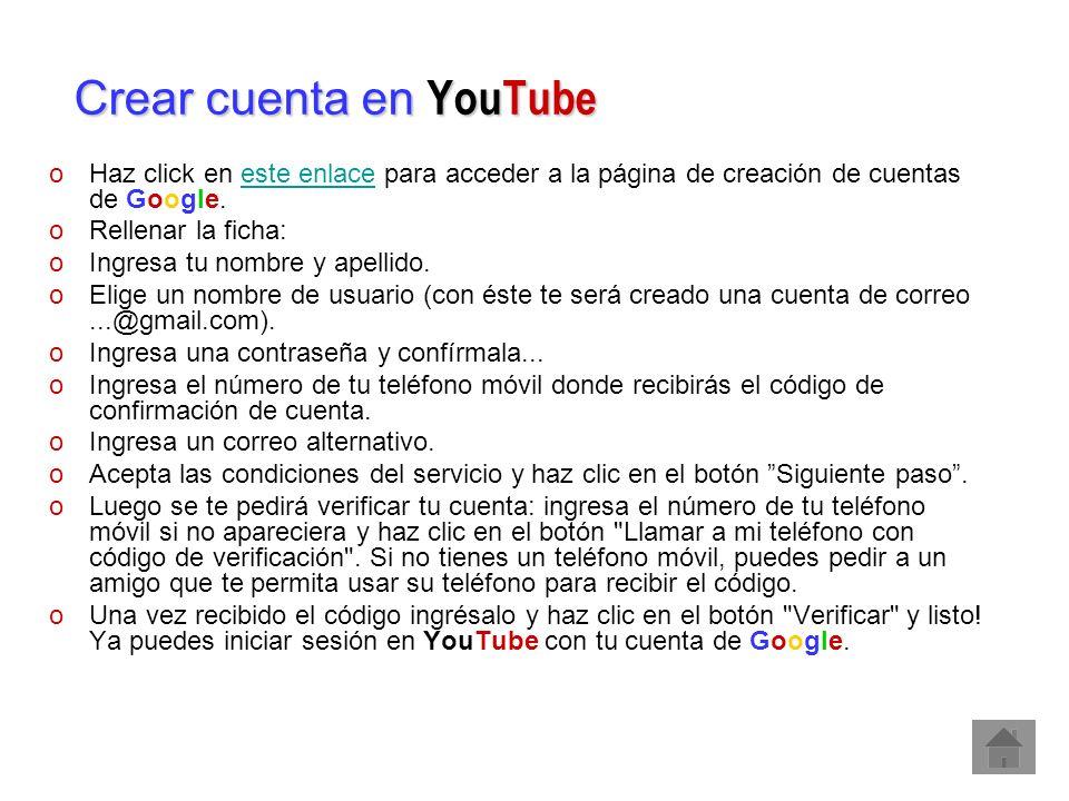 Crear cuenta en YouTube
