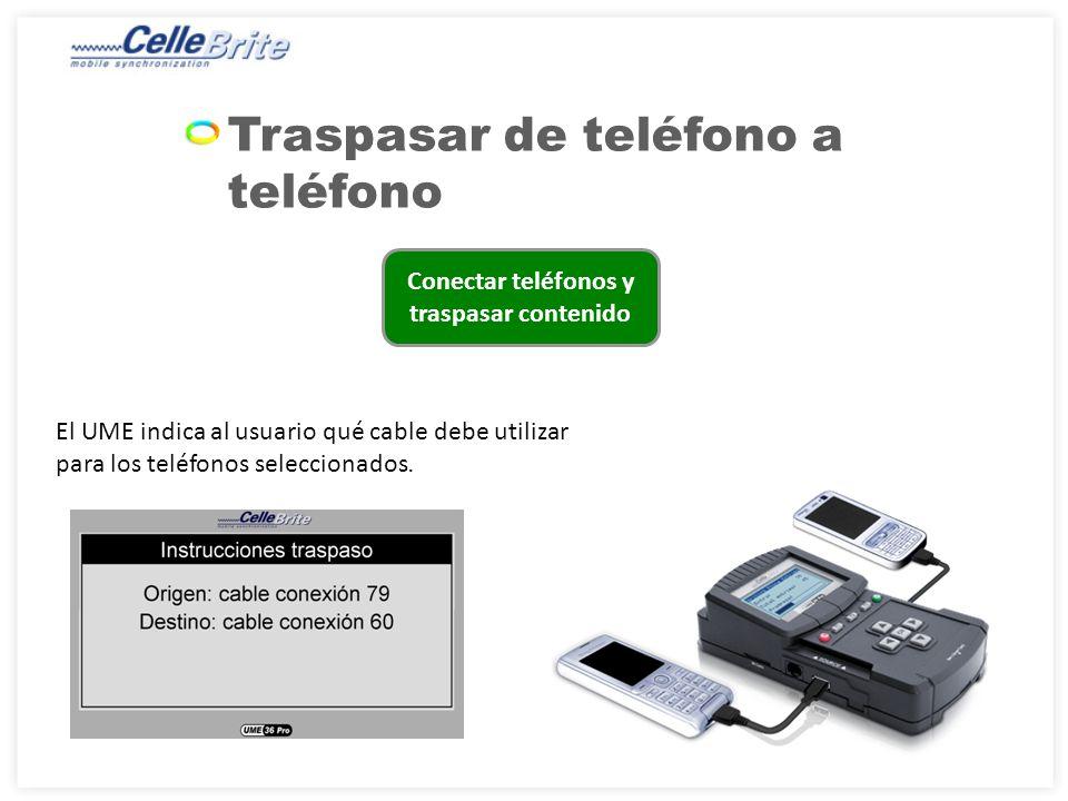 Conectar teléfonos y traspasar contenido