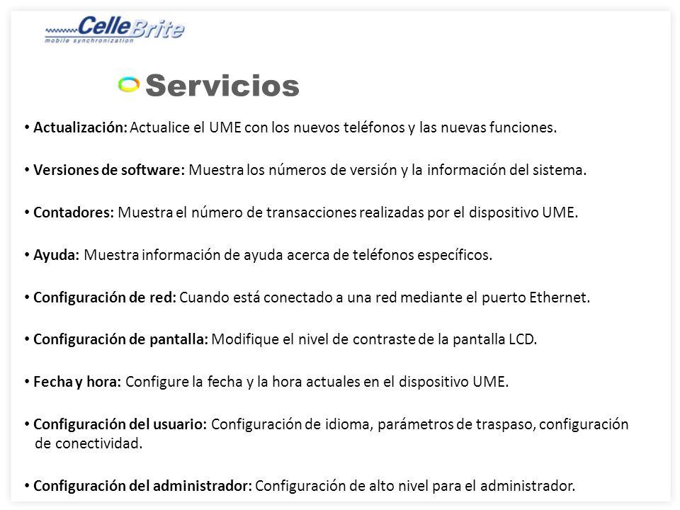 Servicios Actualización: Actualice el UME con los nuevos teléfonos y las nuevas funciones.