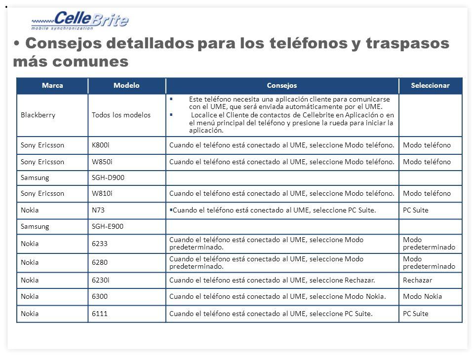 Consejos detallados para los teléfonos y traspasos más comunes