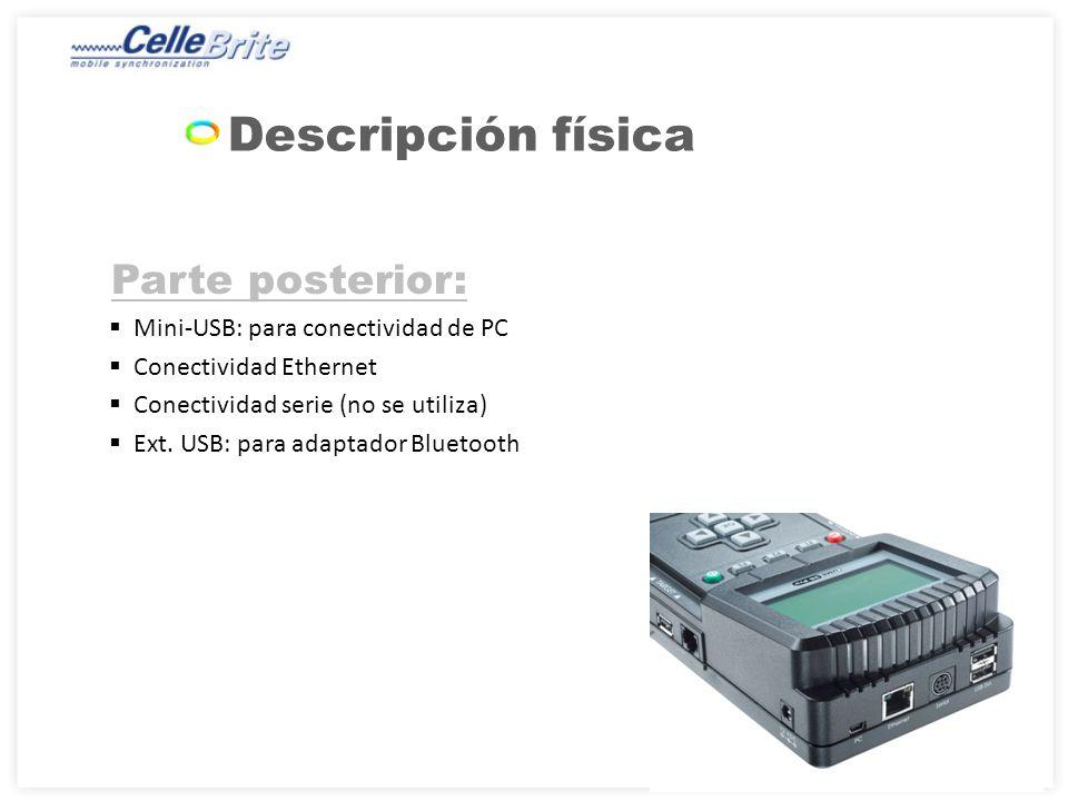 Descripción física Parte posterior: Mini-USB: para conectividad de PC
