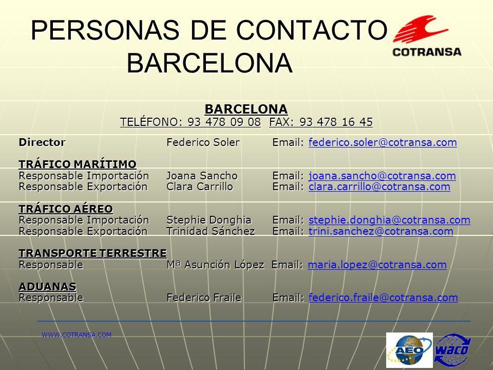 PERSONAS DE CONTACTO BARCELONA