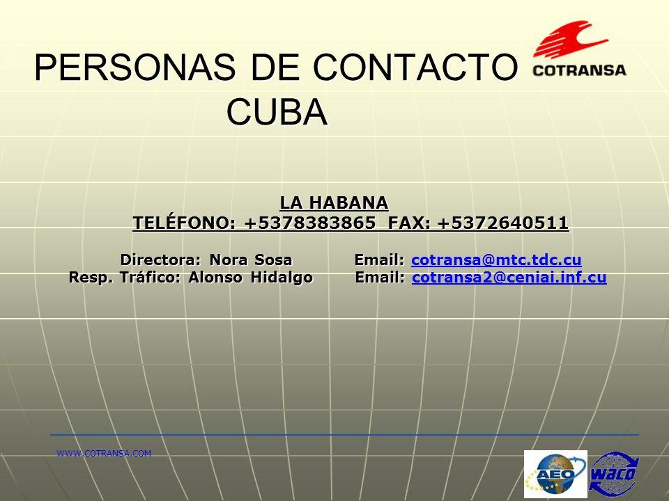 PERSONAS DE CONTACTO CUBA