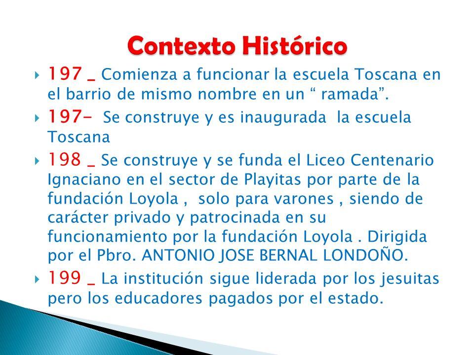 Contexto Histórico 197 _ Comienza a funcionar la escuela Toscana en el barrio de mismo nombre en un ramada .