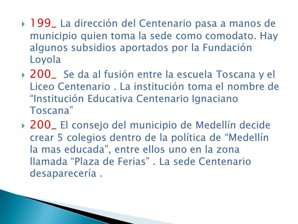 199_ La dirección del Centenario pasa a manos de municipio quien toma la sede como comodato. Hay algunos subsidios aportados por la Fundación Loyola