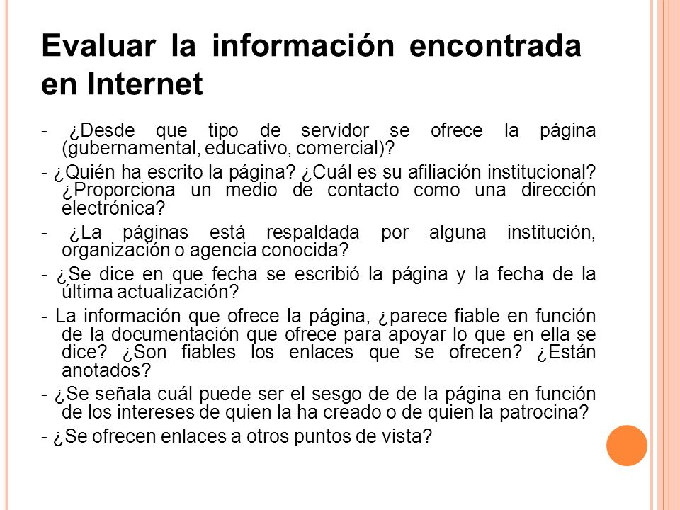 Evaluar la información encontrada en Internet