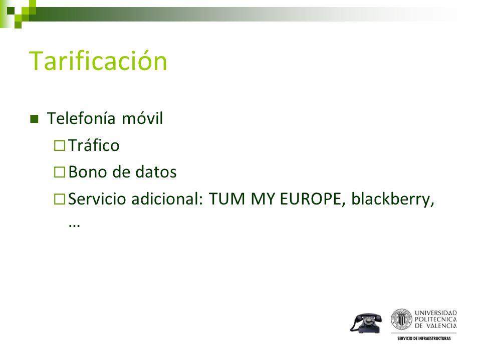 Tarificación Telefonía móvil Tráfico Bono de datos