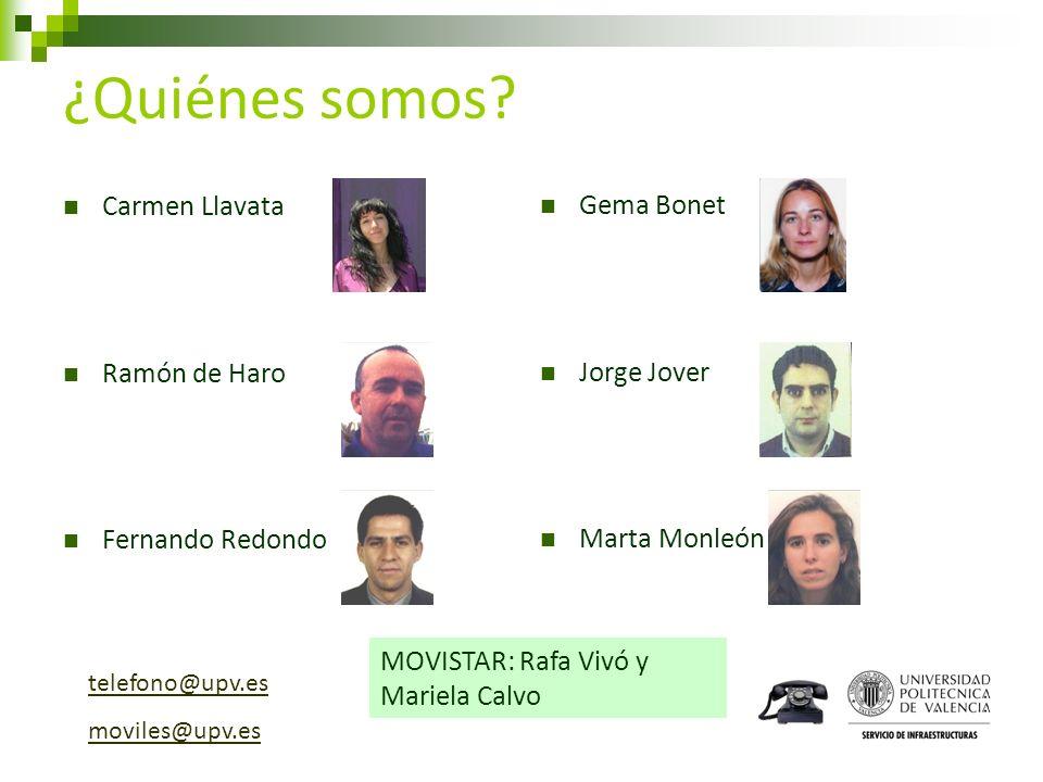 ¿Quiénes somos Carmen Llavata Gema Bonet Ramón de Haro Jorge Jover