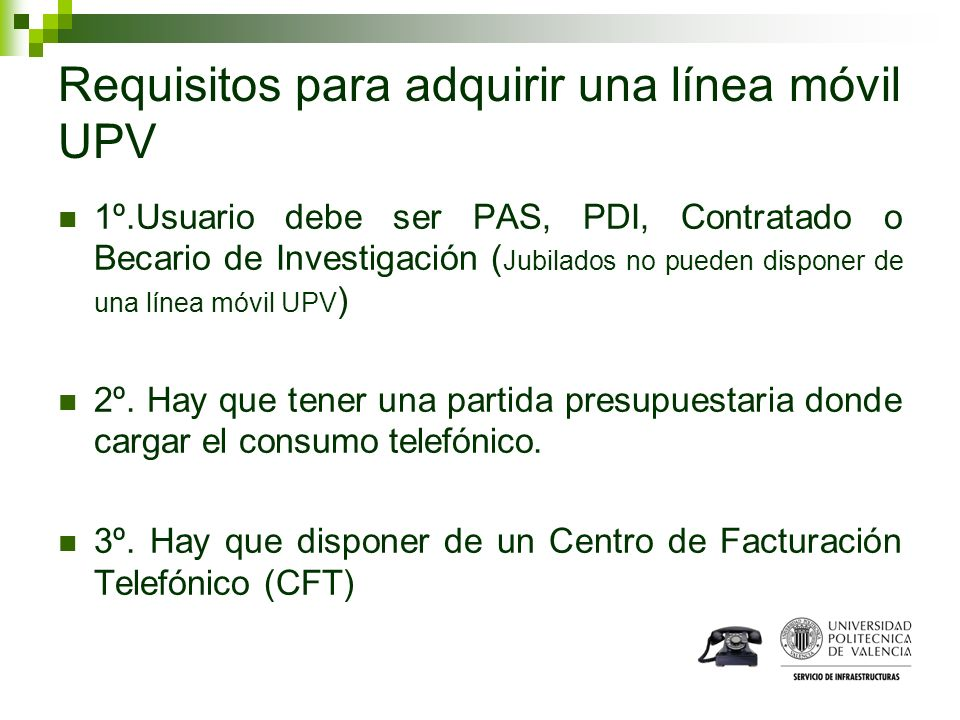 Requisitos para adquirir una línea móvil UPV