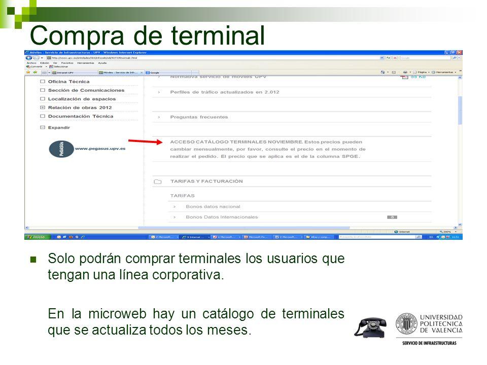 Compra de terminal Solo podrán comprar terminales los usuarios que tengan una línea corporativa.