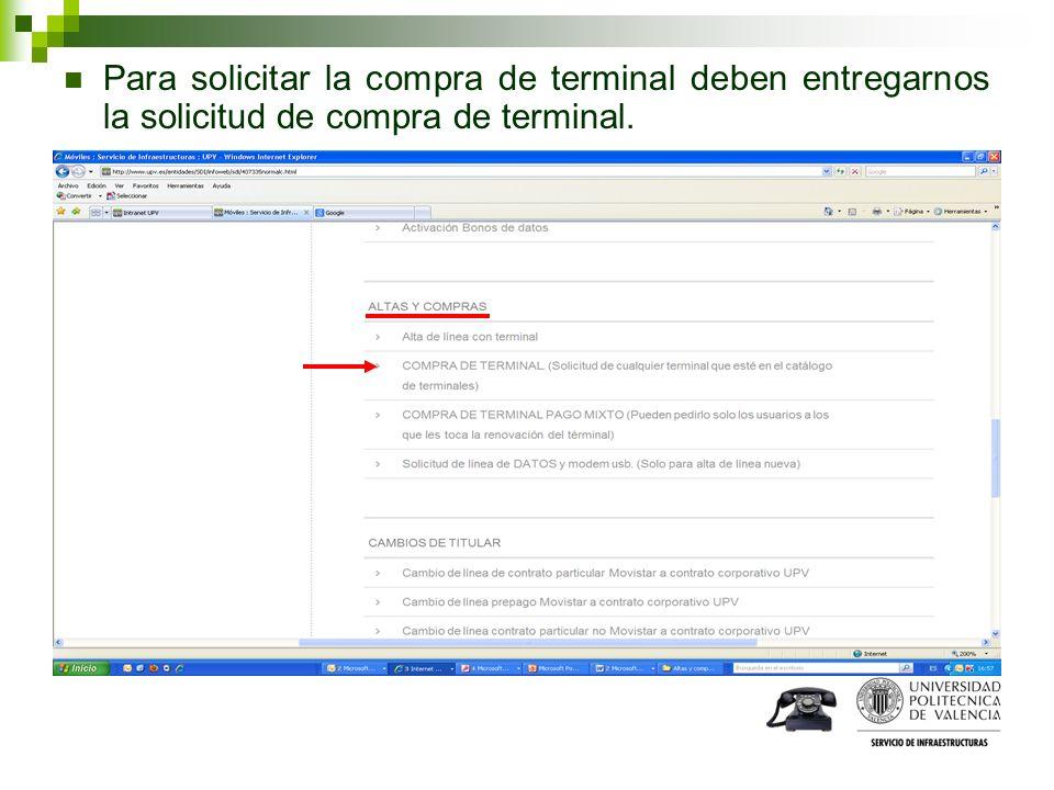 Para solicitar la compra de terminal deben entregarnos la solicitud de compra de terminal.