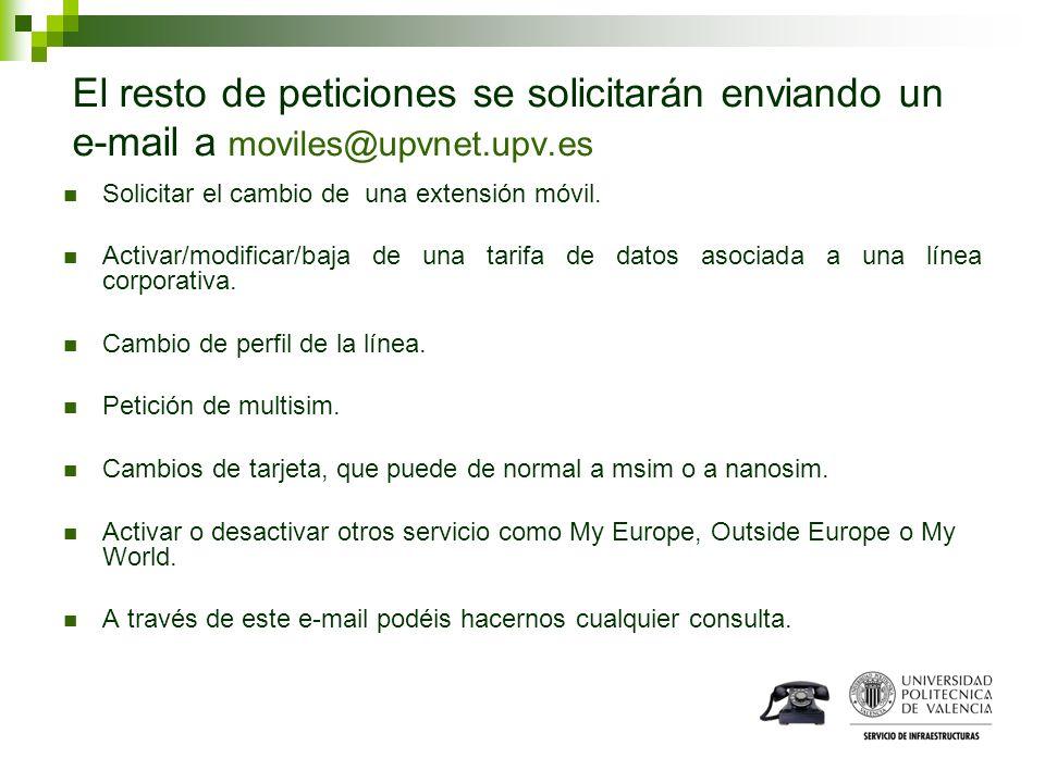 El resto de peticiones se solicitarán enviando un e-mail a moviles@upvnet.upv.es
