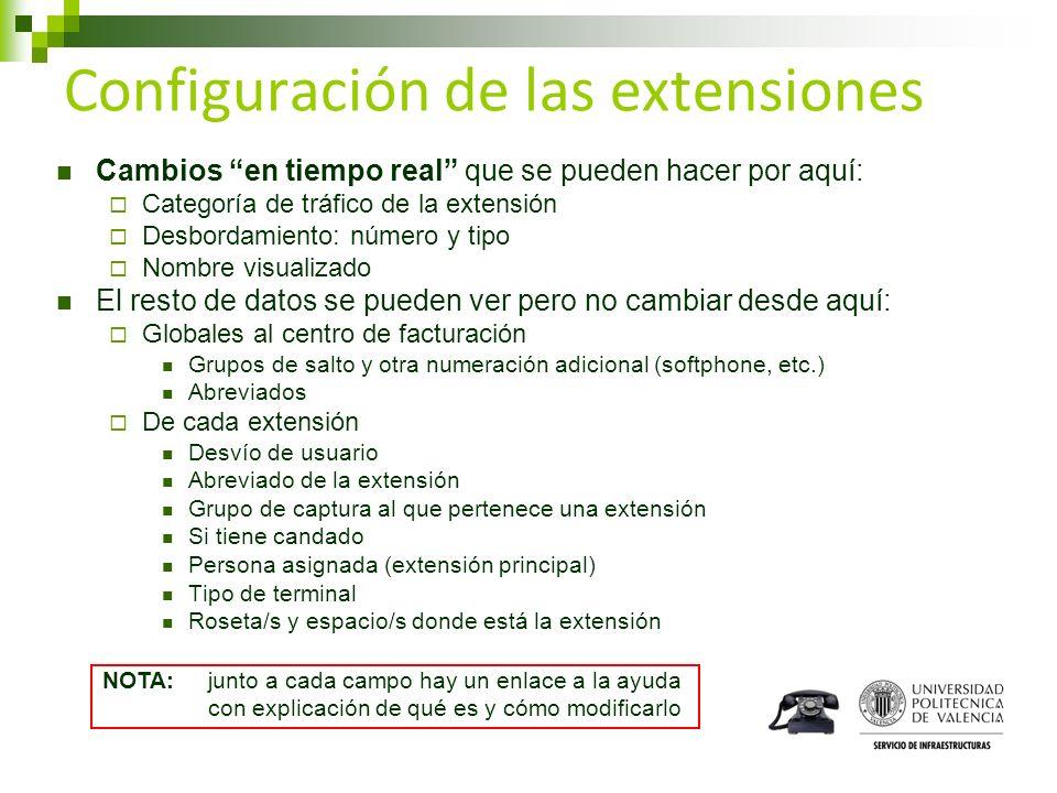 Configuración de las extensiones