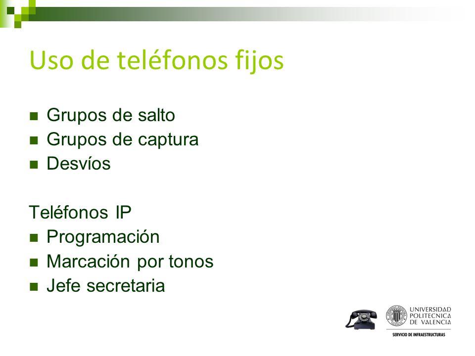 Uso de teléfonos fijos Grupos de salto Grupos de captura Desvíos