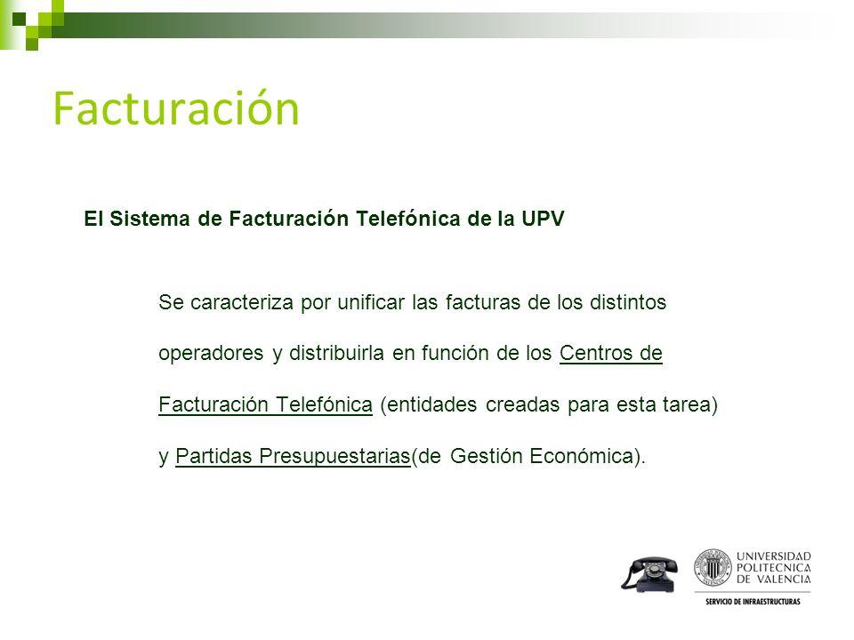 Facturación El Sistema de Facturación Telefónica de la UPV