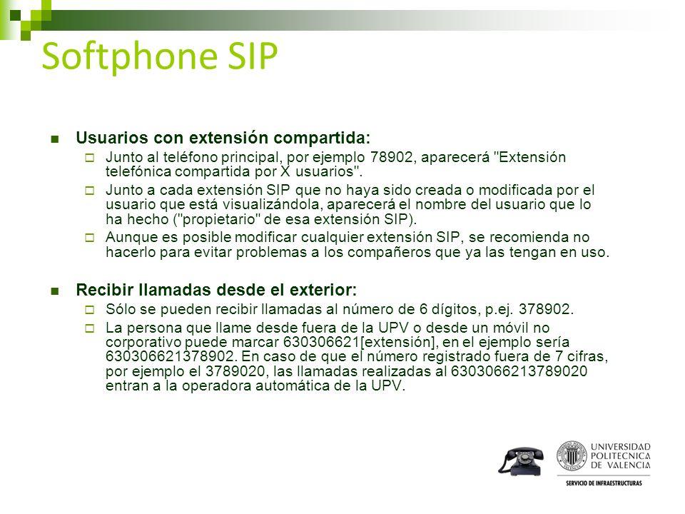 Softphone SIP Usuarios con extensión compartida: