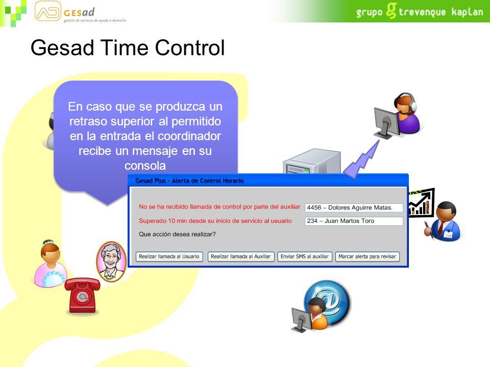 Gesad Time Control En caso que se produzca un retraso superior al permitido en la entrada el coordinador recibe un mensaje en su consola.
